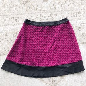 Magenta Quilted Skirt with Faux Leather Edging